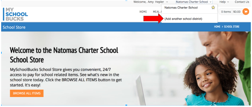 How to add Natomas Charter to your account